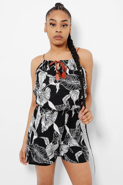 Faux Leather Straps Black Leaves Print Playsuit-SinglePrice