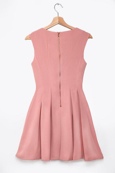 Pleated Soft Pink Skater Dress-SinglePrice