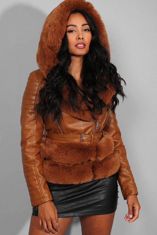 Camel Faux Fur Trims Belted Camel Vegan Leather Jacket - SinglePrice
