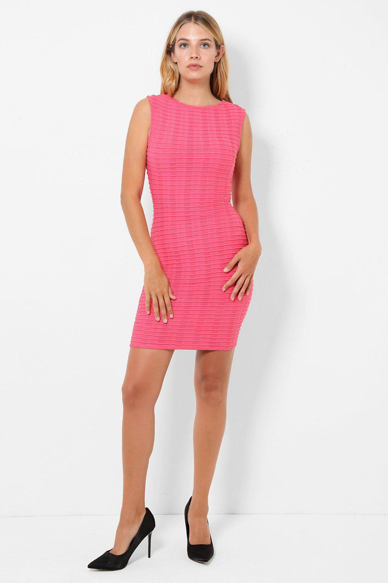 Textured Pink Sleeveless Bodycon Dress - SinglePrice