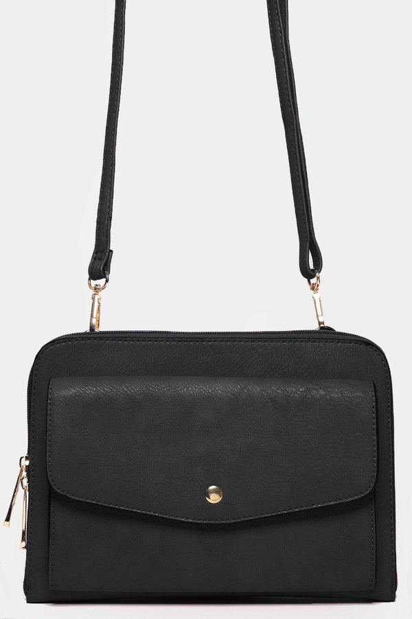Black Front Flap Pocket Shoulder Bag-SinglePrice