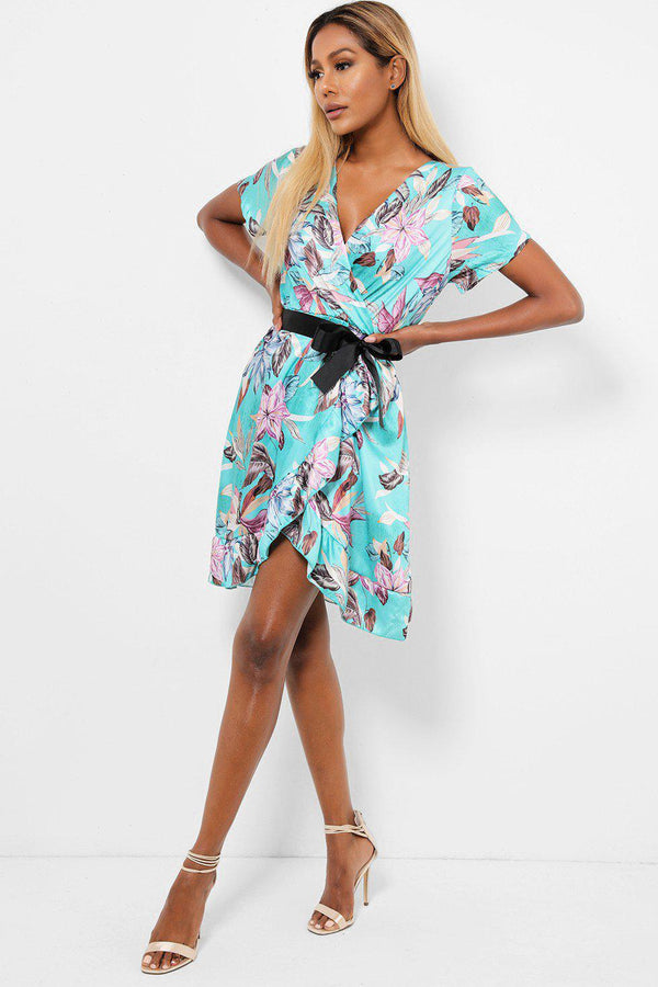 Floral Print Green Satin Wrap Dress-SinglePrice