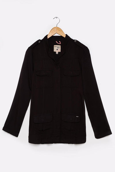 Black Military Style Oversized Shirt-SinglePrice
