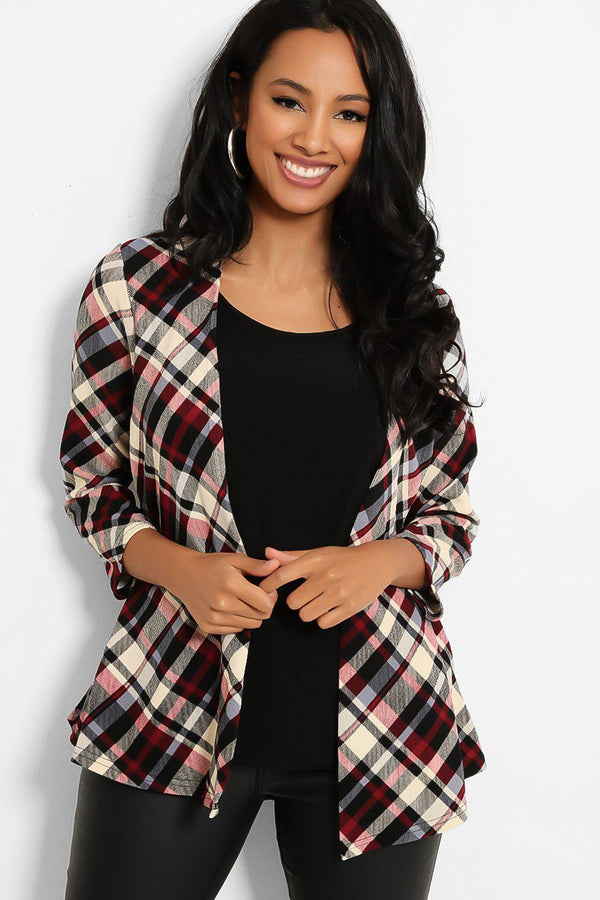 Burgundy Cream Check Print Open Front Cardigan