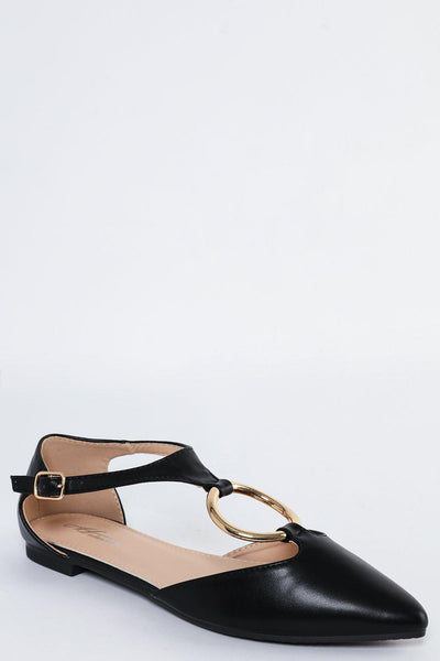Gold Ring T-Bar Pointy Black Flats-SinglePrice