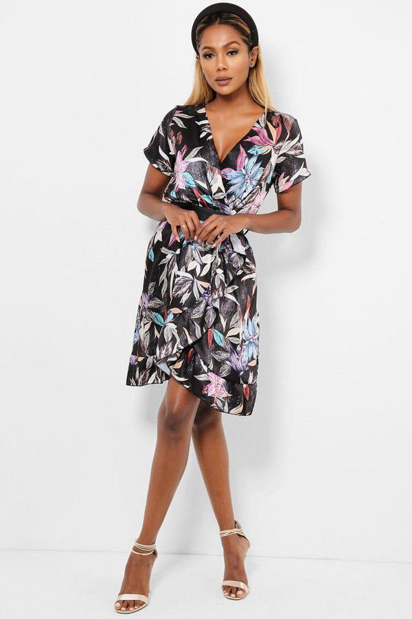 Floral Print Black Satin Wrap Dress-SinglePrice