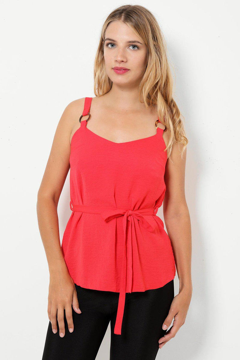 Red Cami Tie Up Waist Top - SinglePrice
