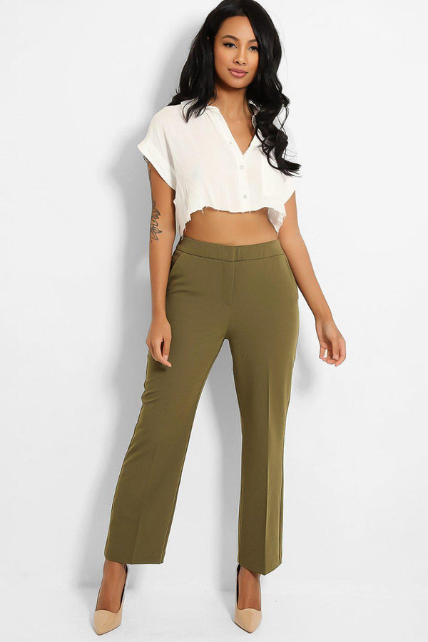 Green Pinch Seam Front Chino Trousers - SinglePrice