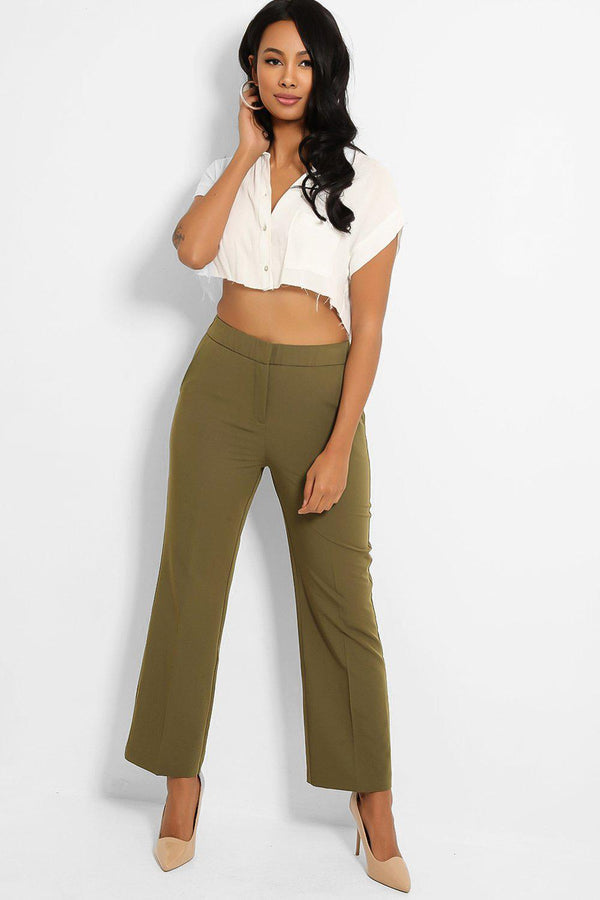 Green Pinch Seam Front Chino Trousers-SinglePrice