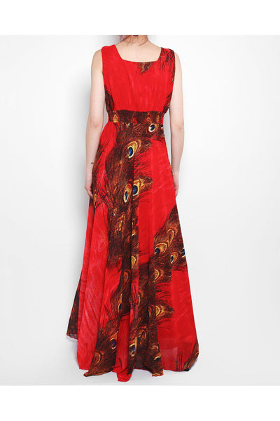 Red Peacock Print Maxi Dress-SinglePrice
