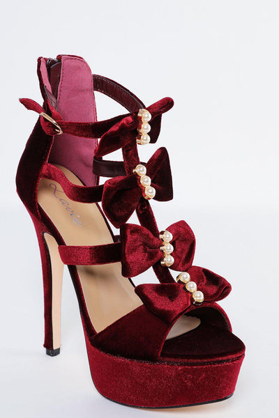 Red Velvet Stiletto Heels With Pearls And Bows-SinglePrice