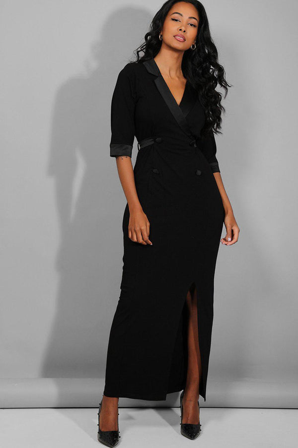 Black Deep Plunge Front Split Slinky Blazer Maxi Dress - SinglePrice