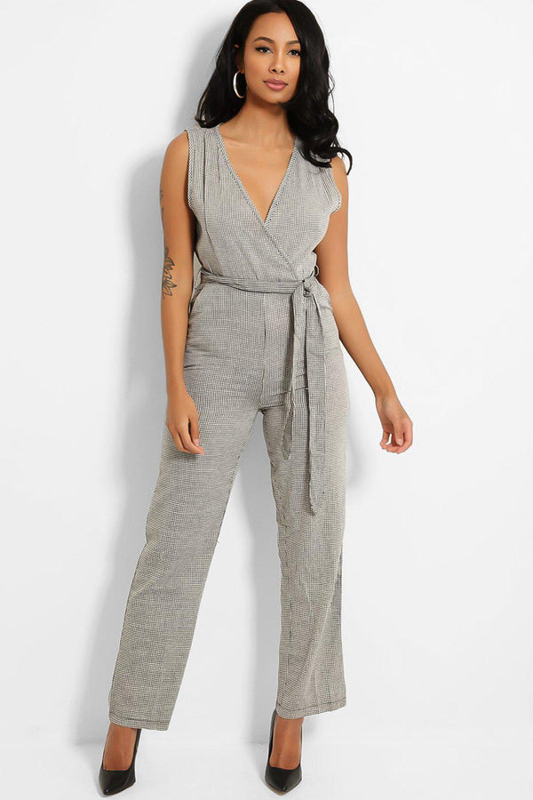 Grey Check Print Self-Belt V-Neck Jumpsuit - SinglePrice