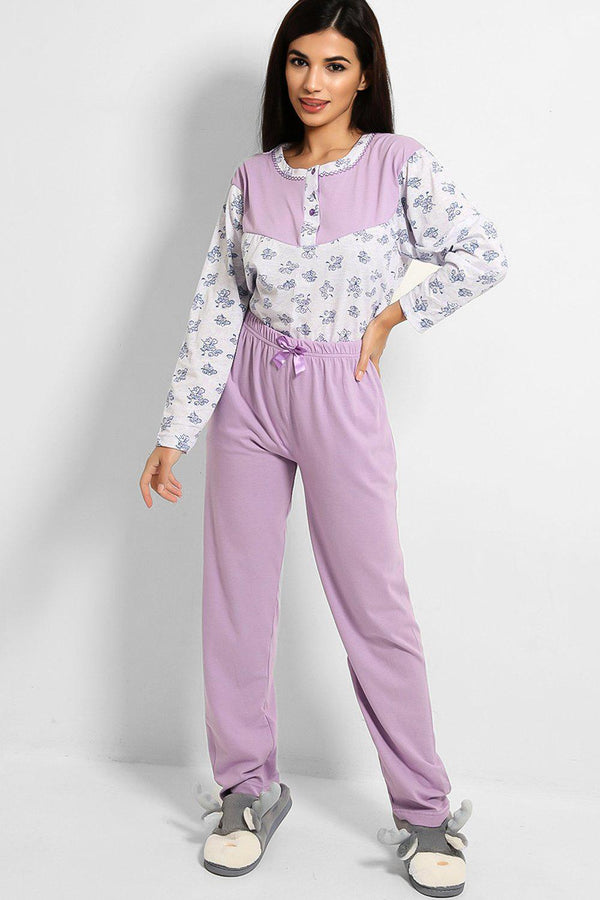 Light Purple Floral Print Pyjama Set - SinglePrice