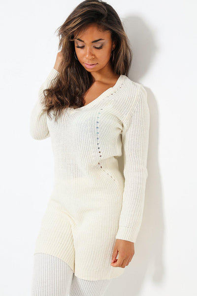 Cream V-Neck Knitted Jumper Dress-SinglePrice
