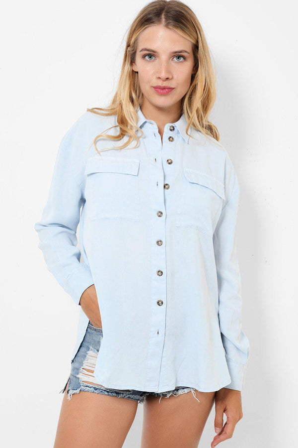 Baby Blue Cotton Shirt-SinglePrice