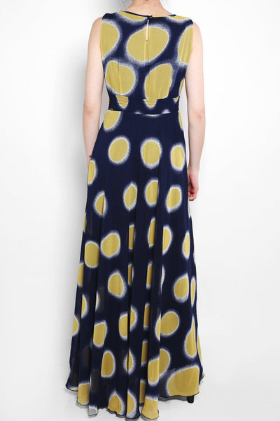 Yellow Dotted Print Maxi Dress-SinglePrice
