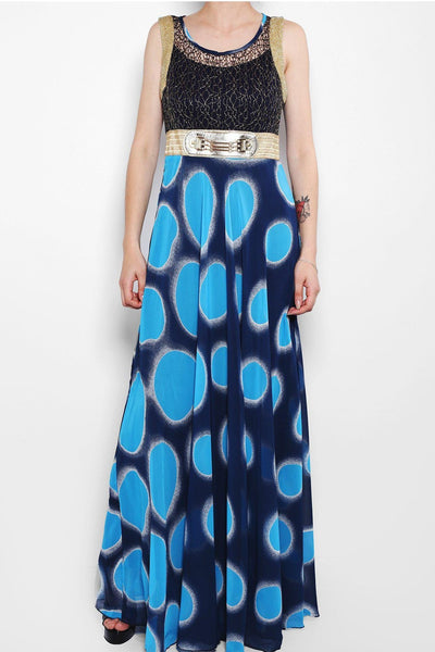 Blue Dotted Print Maxi Dress-SinglePrice