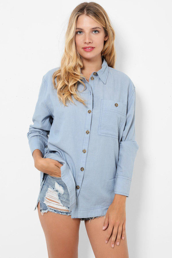 Denim Blue Cotton Shirt-SinglePrice