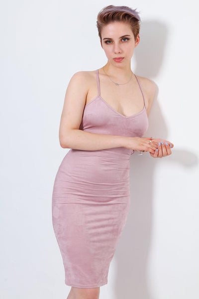 Lilac Vegan Suede Laced Back Dress-SinglePrice