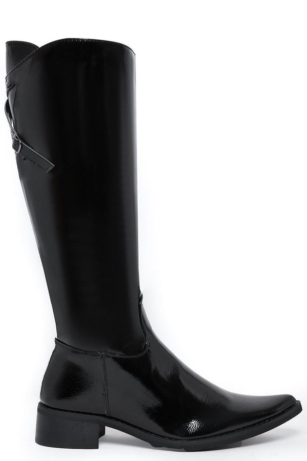 Textured Patent Point Toe Knee High Boots - SinglePrice