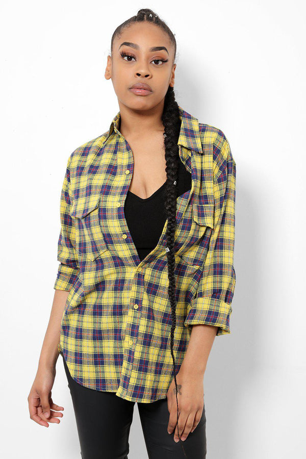 Yellow Embellished Back Checked Shirt-SinglePrice