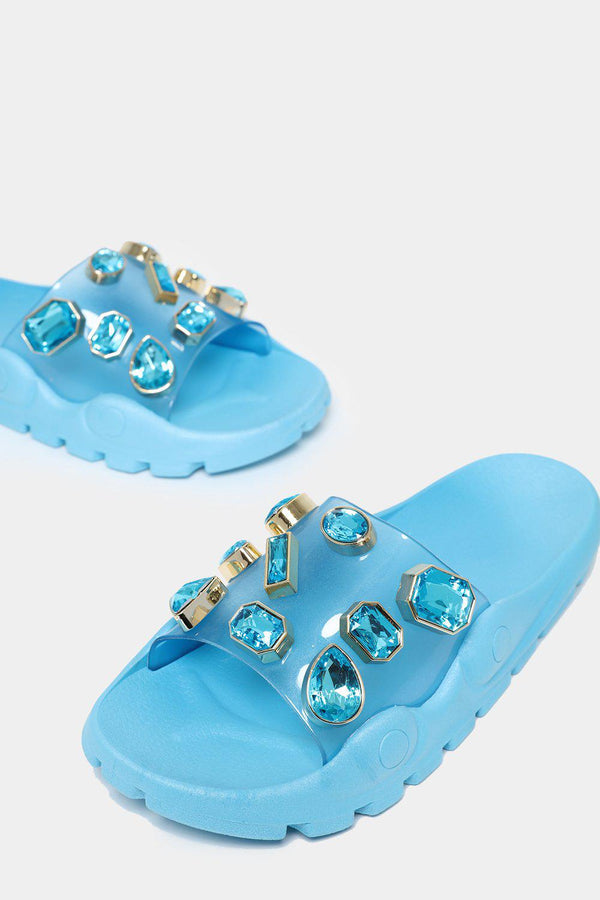 Jewelled Light Blue Transparent Sliders-SinglePrice