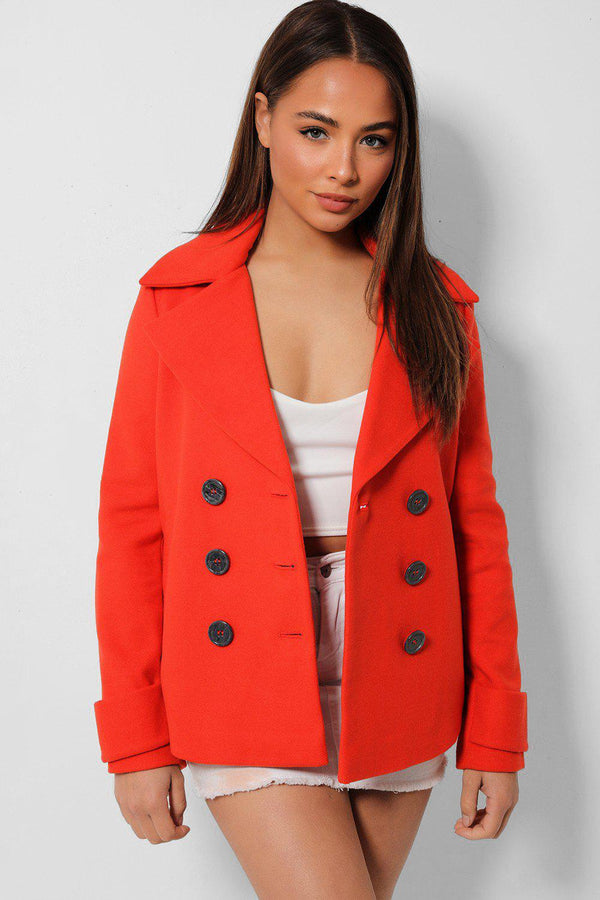 Coral Red Double Breasted Large Collar Coat - SinglePrice