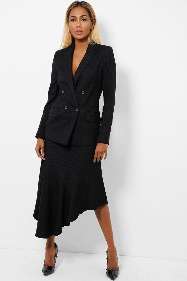 Black Smart Blazer And Skirt Set-SinglePrice