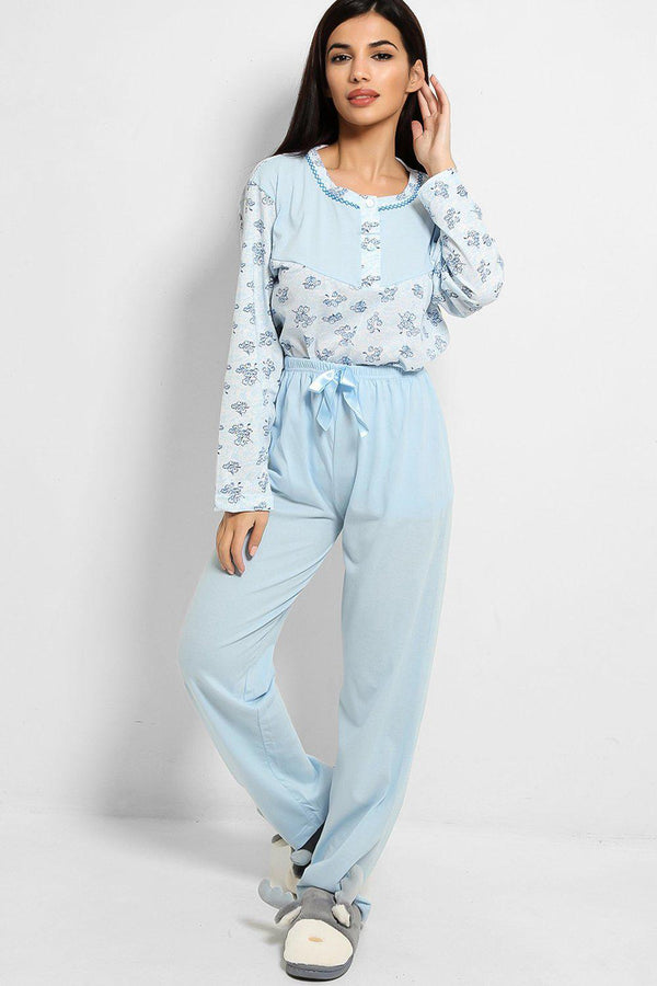 Light Blue Floral Print Pyjama Set - SinglePrice