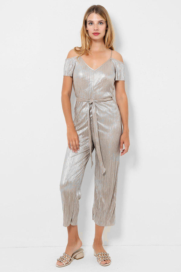 Gold Pleated Cropped Leg Jumpsuit - SinglePrice