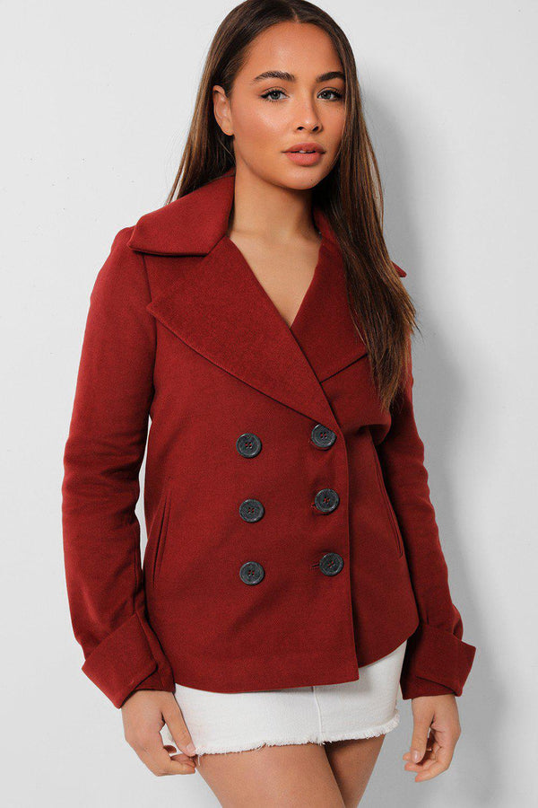 Burgundy Double Breasted Large Collar Coat - SinglePrice