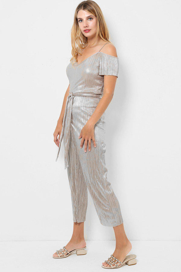 Gold Pleated Cropped Leg Jumpsuit-SinglePrice