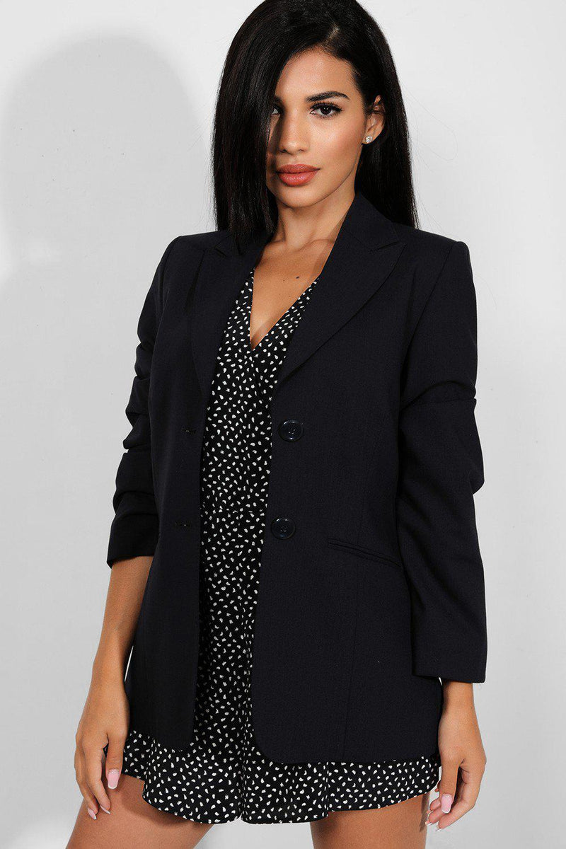 Navy Single Breasted Dual Buttons Blazer - SinglePrice