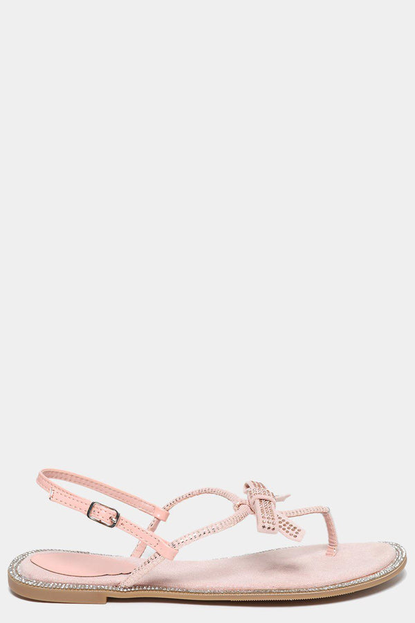 Pink Encrusted Bow Flat Sandals-SinglePrice