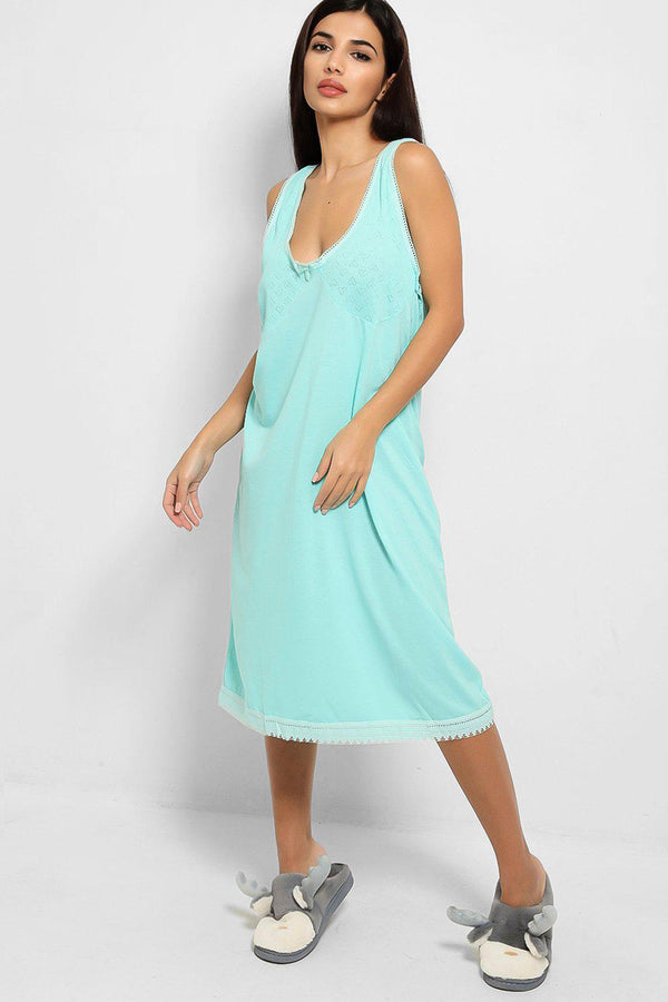 Mint Perforated Hearts Details Pyjama Dress - SinglePrice