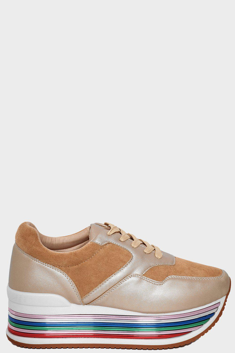 Gold Faux Suede & Faux Leather Rainbow Flatfrom Trainers - SinglePrice