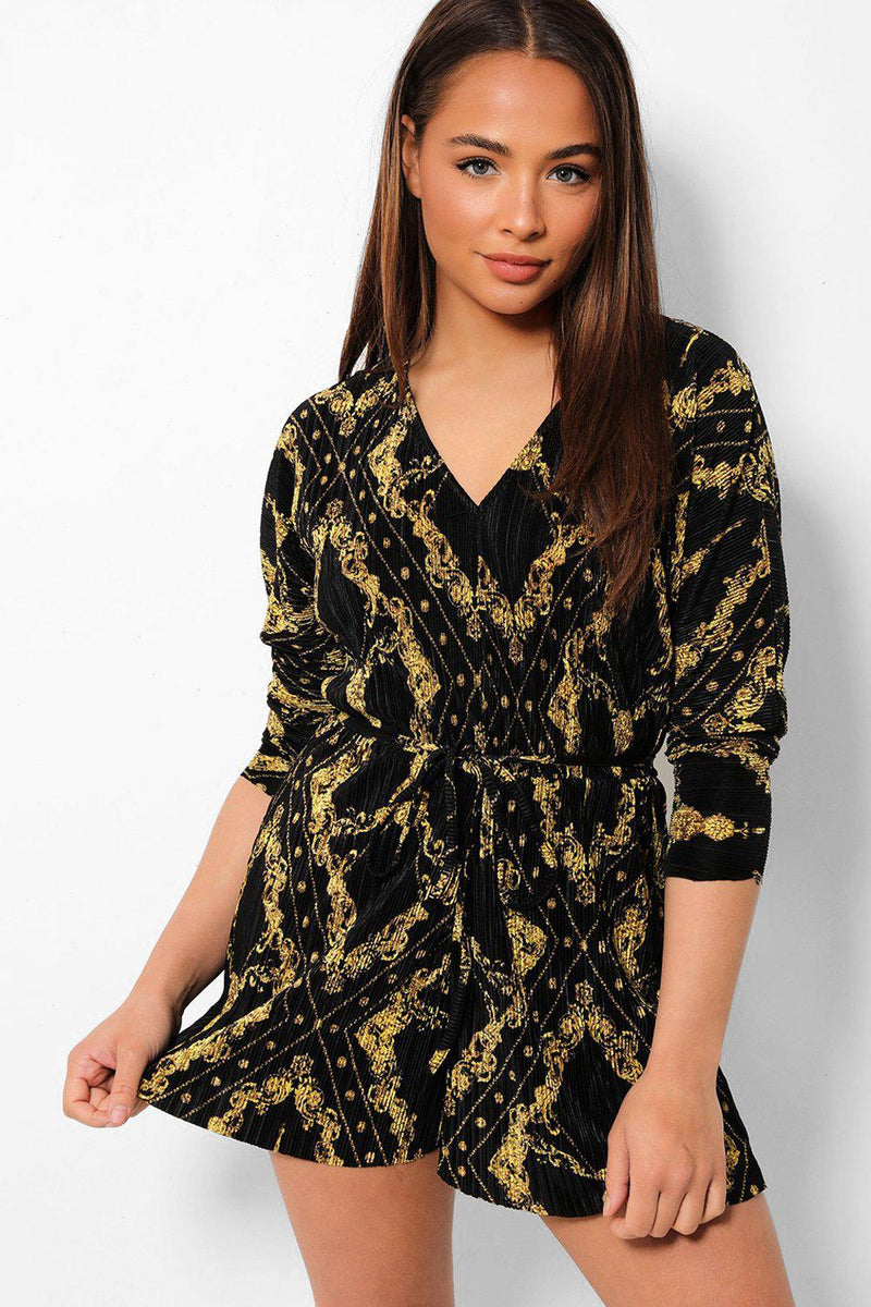 Baroque Printed Black Pleated Playsuit - SinglePrice