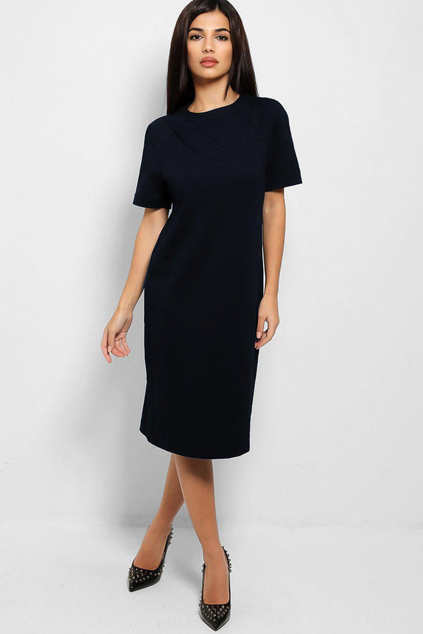 Navy Classic Shift Midi Dress
