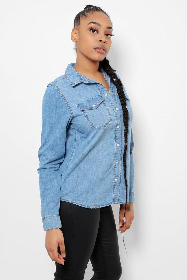 Pearly Popper Buttons Blue Denim Shirt-SinglePrice