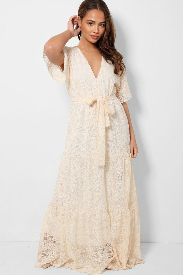 Cream V-Neck Delicate Lace Overlay Maxi Tiered Dress