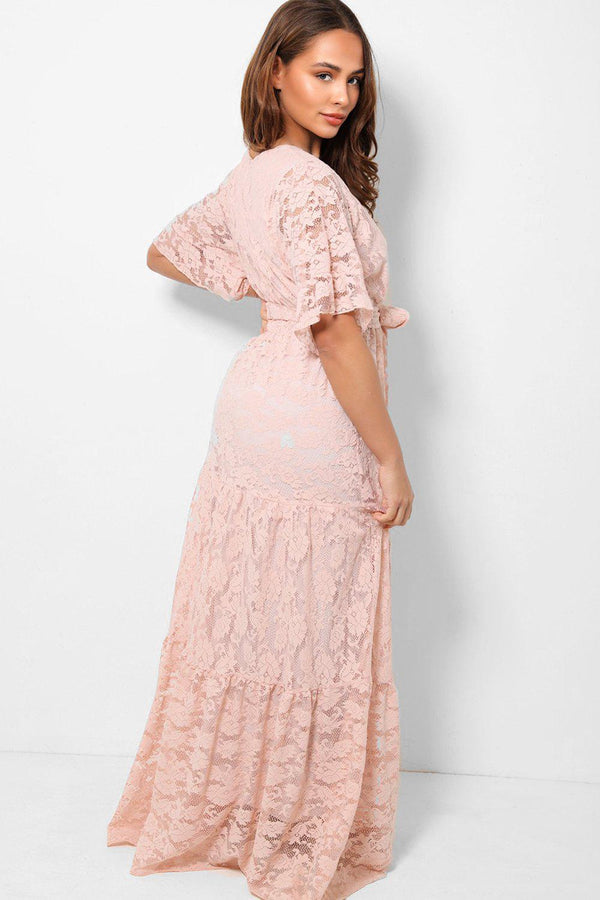 Pink V-Neck Delicate Lace Overlay Maxi Tiered Dress