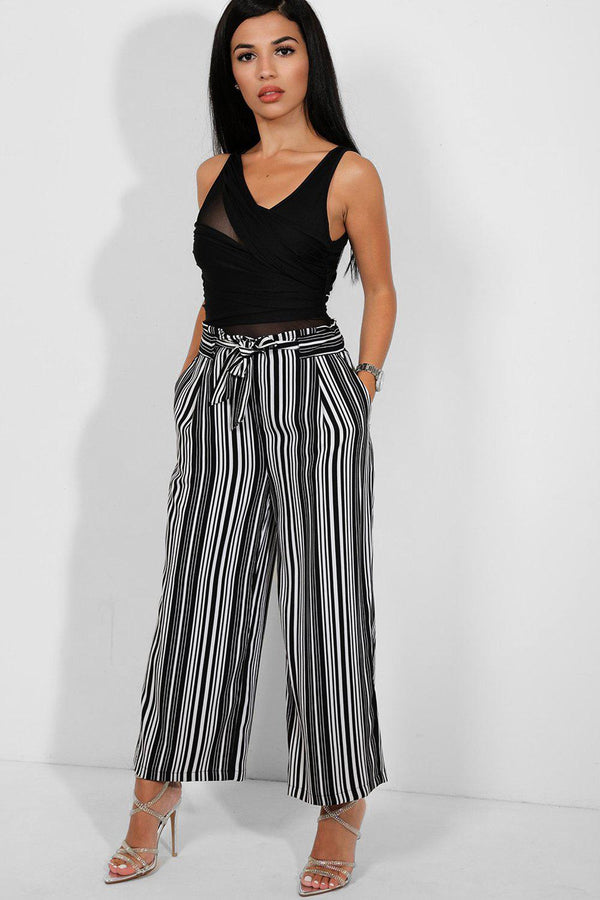 Black White Stripe Self-Belt Culotte Trousers - SinglePrice