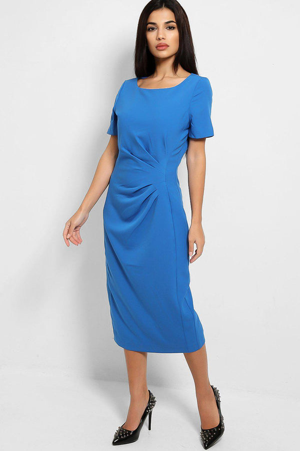 Blue Pleated Front Detail Smart Midi Dress - SinglePrice