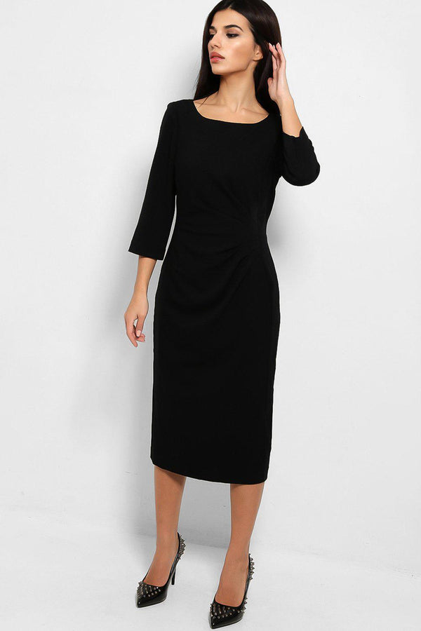 Black Pleated Front Detail Smart Midi Dress - SinglePrice