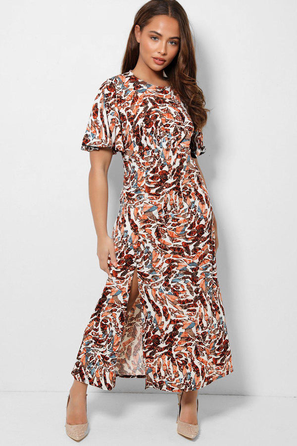 Multicolour Abstract Print Thigh Split Midaxi Slinky Dress-SinglePrice