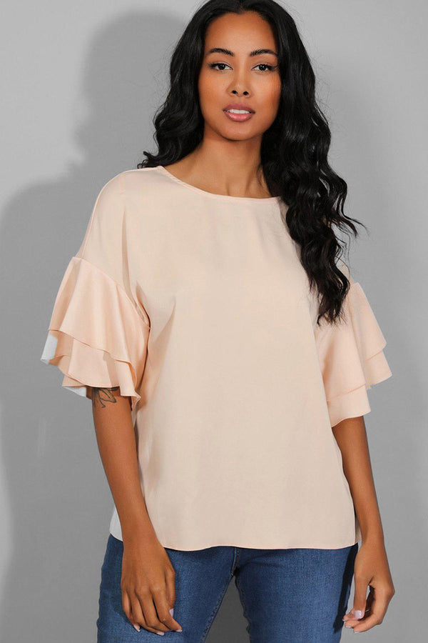 Peach Layered Frill Sleeves Top - SinglePrice