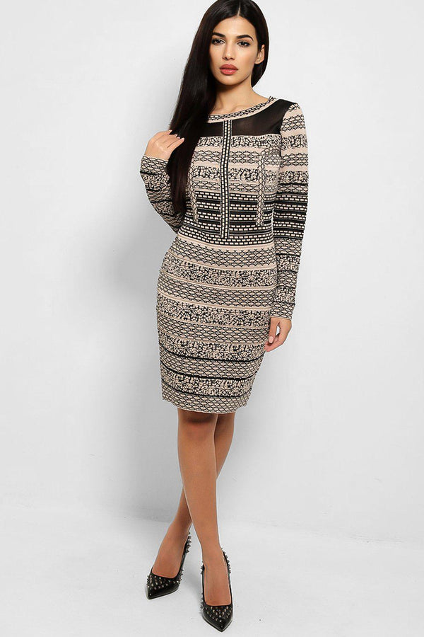 Taupe Black Lurex Knit Bodycon Mini Dress - SinglePrice