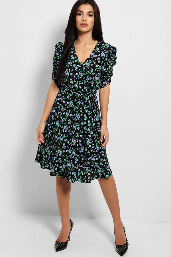 Black Floral Print Puff Sleeve Day Dress