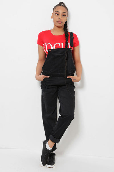 Black Denim Dungarees-SinglePrice